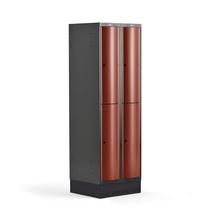 Šatní skříňka Curve, 2 sekce, 4 boxy, 1890x600x550 mm, sokl, červené dveře