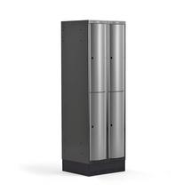 Šatní skříňka Curve, 2 sekce, 4 boxy, 1890x600x550 mm, sokl, šedé dveře