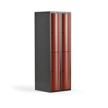 Šatní skříňka Curve, 2 sekce, 4 boxy, tmavě šedá, červené dveře