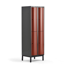 Šatní skříňka Curve, 2 sekce, 4 boxy, 1940x600x550 mm, nohy, červené dveře