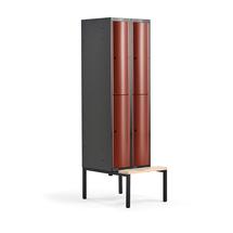 Šatní skříňka Curve, 2 sekce, 4 boxy, 2120x600x550 mm, lavice, červené dveře