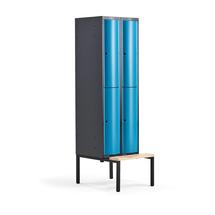Šatní skříňka Curve, 2 sekce, 4 boxy, 2120x600x550 mm, lavice, modré dveře