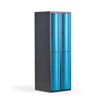 Šatní skříňka Curve, 2 sekce, 4 boxy, tmavě šedá, modré dveře