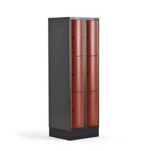 Šatní skříňka Curve, 2 sekce, 6 boxů, 1890x600x550 mm, sokl, červené dveře