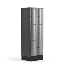 Šatní skříňka Curve, 2 sekce, 6 boxů, 1890x600x550 mm, sokl, šedé dveře