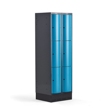 Šatní skříňka Curve, 2 sekce, 6 boxů, 1890x600x550 mm, sokl, modré dveře