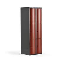 Šatní skříňka Curve, 2 sekce, 6 boxů, tmavě šedá, červené dveře