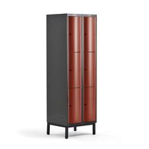 Šatní skříňka Curve, 2 sekce, 6 boxů, 1940x600x550 mm, nohy, červené dveře