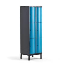 Šatní skříňka Curve, 2 sekce, 6 boxů, 1940x600x550 mm, nohy, modré dveře
