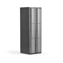 Šatní skříňka Curve, 2 sekce, 6 boxů, tmavě šedá, světle šedé dveře