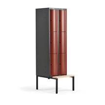 Šatní skříňka Curve, 2 sekce, 6 boxů, 2120x600x550 mm, lavice, červené dveře