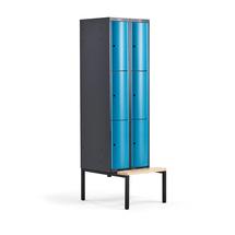 Šatní skříňka Curve, 2 sekce, 6 boxů, 2120x600x550 mm, lavice, modré dveře