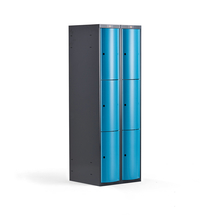 Šatní skříňka Curve, 2 sekce, 6 boxů, tmavě šedá, modré dveře