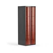 Šatní skříňka Curve, 2 sekce, 8 boxů, tmavě šedá, červené dveře