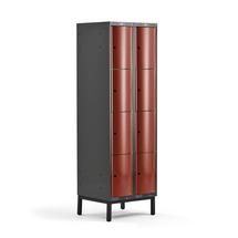 Šatní skříňka Curve, 2 sekce, 8 boxů, 1940x600x550 mm, nohy, červené dveře