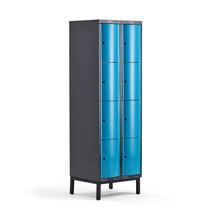Šatní skříňka Curve, 2 sekce, 8 boxů, 1940x600x550 mm, nohy, modré dveře