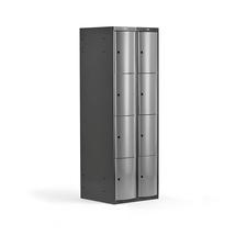 Šatní skříňka Curve, 2 sekce, 8 boxů, tmavě šedá, světle šedé dveře