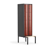 Šatní skříňka Curve, 2 sekce, 8 boxů, 2120x600x550 mm, lavice, červené dveře