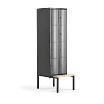 Šatní skříňka Curve, 2 sekce, 8 boxů, 2120x600x550 mm, lavice, šedé dveře