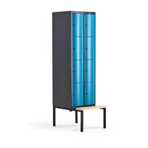 Šatní skříňka Curve, 2 sekce, 8 boxů, 2120x600x550 mm, lavice, modré dveře