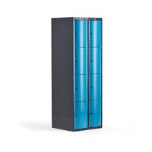Šatní skříňka Curve, 2 sekce, 8 boxů, tmavě šedá, modré dveře