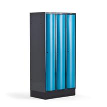 Šatní skříňka Curve, 3 sekce, 1890x900x550 mm, sokl, modré dveře