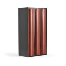 Šatní skříňka Curve, 3 sekce, oblé dveře, tmavě šedá, červené dveře