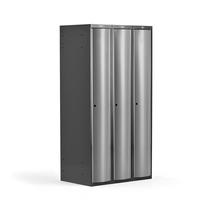 Šatní skříňka Curve, 3 sekce, oblé dveře, tmavě šedá, světle šedé dveře