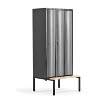 Šatní skříňka Curve, 3 sekce, 2120x900x550 mm, lavice, šedé dveře