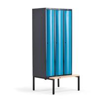 Šatní skříňka Curve, 3 sekce, 2120x900x550 mm, lavice, modré dveře