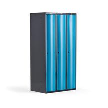 Šatní skříňka Curve, 3 sekce, oblé dveře, tmavě šedá, modré dveře
