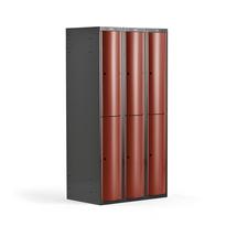 Šatní skříňka Curve, 3 sekce, 6 boxů, tmavě šedá, červené dveře