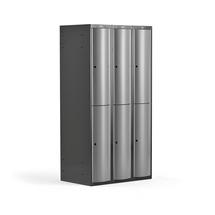 Šatní skříňka Curve, 3 sekce, 6 boxů, tmavě šedá, světle šedé dveře