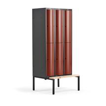 Šatní skříňka Curve, 3 sekce, 6 boxů, 2120x900x550 mm, lavice, červené dveře