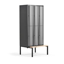 Šatní skříňka Curve, 3 sekce, 6 boxů, 2120x900x550 mm, lavice, šedé dveře