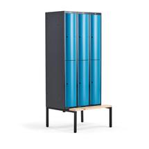 Šatní skříňka Curve, 3 sekce, 6 boxů, 2120x900x550 mm, lavice, modré dveře