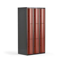 Šatní skříňka Curve, 3 sekce, 9 boxů, tmavě šedá, červené dveře
