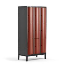 Šatní skříňka Curve, 3 sekce, 9 boxů, 1940x900x550 mm, nohy, červené dveře