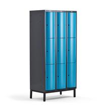 Šatní skříňka Curve, 3 sekce, 9 boxů, 1940x900x550 mm, nohy, modré dveře
