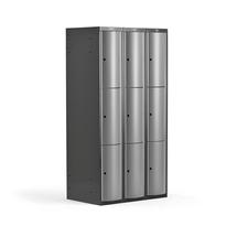Šatní skříňka Curve, 3 sekce, 9 boxů, tmavě šedá, světle šedé dveře
