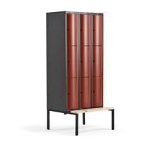 Šatní skříňka Curve, 3 sekce, 9 boxů, 2120x900x550 mm, lavice, červené dveře