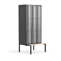 Šatní skříňka Curve, 3 sekce, 9 boxů, 2120x900x550 mm, lavice, šedé dveře