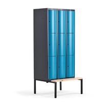Šatní skříňka Curve, 3 sekce, 9 boxů, 2120x900x550 mm, lavice, modré dveře