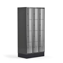 Šatní skříňka Curve, 3 sekce, 12 boxů, 1890x900x550 mm, sokl, šedé dveře