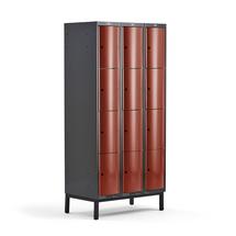 Šatní skříňka Curve, 3 sekce, 12 boxů, 1940x900x550 mm, nohy, červené dveře