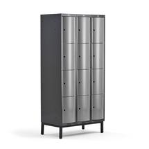 Šatní skříňka Curve, 3 sekce, 12 boxů, 1940x900x550 mm, nohy, šedé dveře