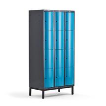 Šatní skříňka Curve, 3 sekce, 12 boxů, 1940x900x550 mm, nohy, modré dveře