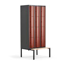 Šatní skříňka Curve, 3 sekce, 12 boxů, 2120x900x550 mm, lavice, červené dveře