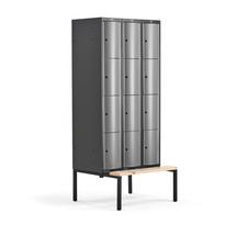 Šatní skříňka Curve, 3 sekce, 12 boxů, 2120x900x550 mm, lavice, šedé dveře