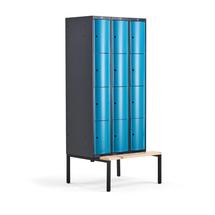Šatní skříňka Curve, 3 sekce, 12 boxů, 2120x900x550 mm, lavice, modré dveře